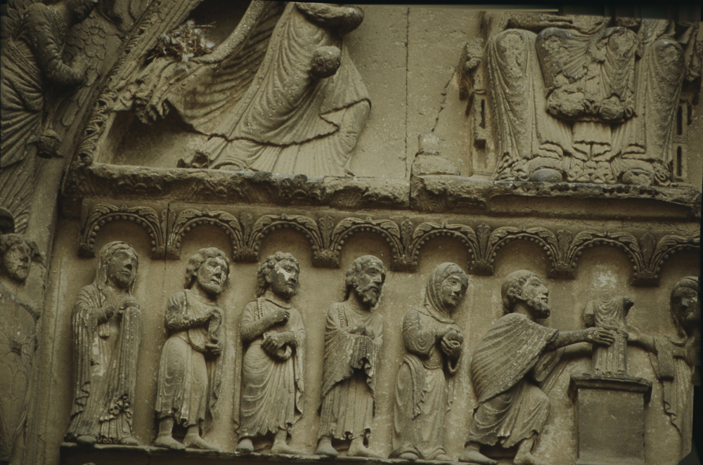 Chartres west side, right portal, tympanum, presentation at the temple.