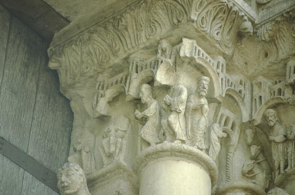 Chartres left portal, capitals, Adoration of the Magi.