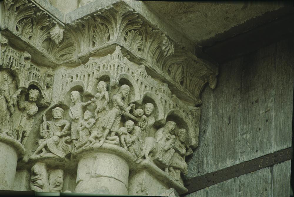 Chartres left portal, capitals, Herod and Massacre of the Innocents.