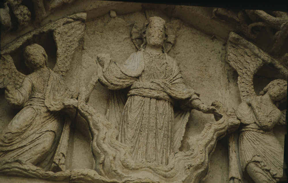 Chartres, west side, left door• Tympanum - Christ ascending into heaven.