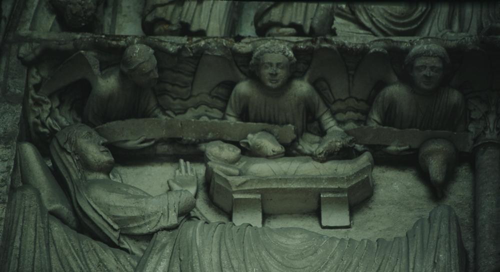 Chartres, north side, left portal, detailLINTEL:• Nativity