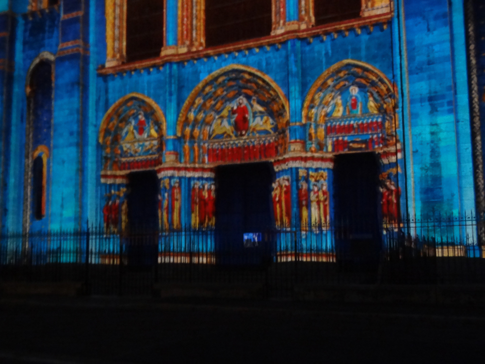 Chartres, west side, night illuminations.