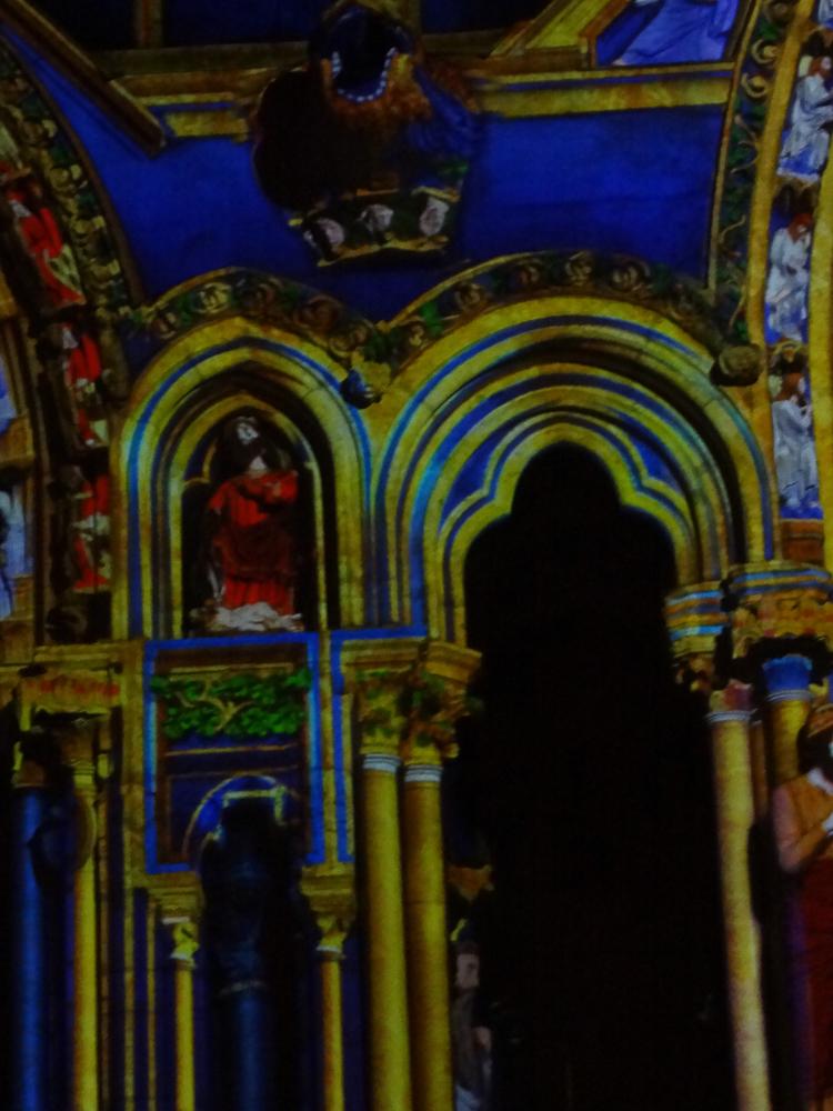 Chartres, north side, center portal, outer porch, night illumination