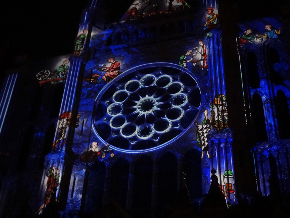 South facade Chartres cathedral night illuminations