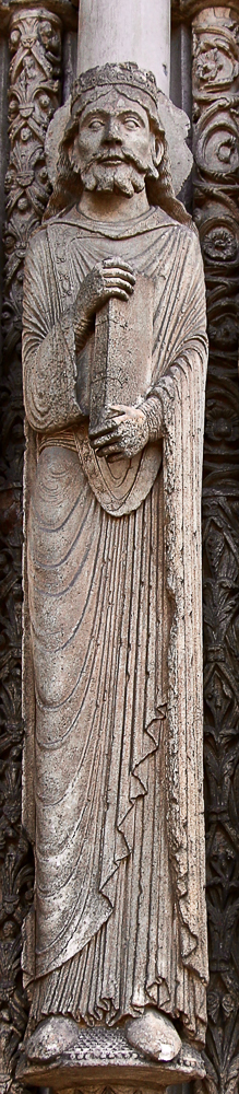 Chartres west side, central portal, right hand side• King David