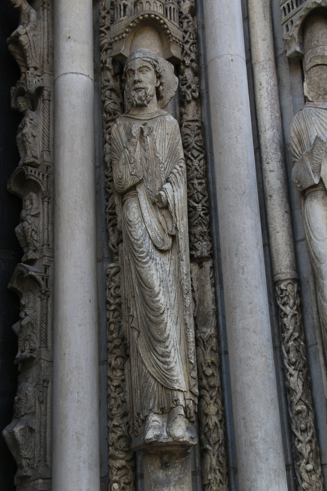 Chartres west side, left portal, right hand side (L - R)• Moses