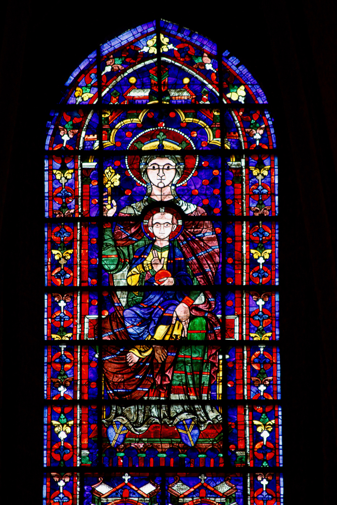 Window 120 - Center, Clerestory, apse: MaryMary as Queen with Jesus enthroned