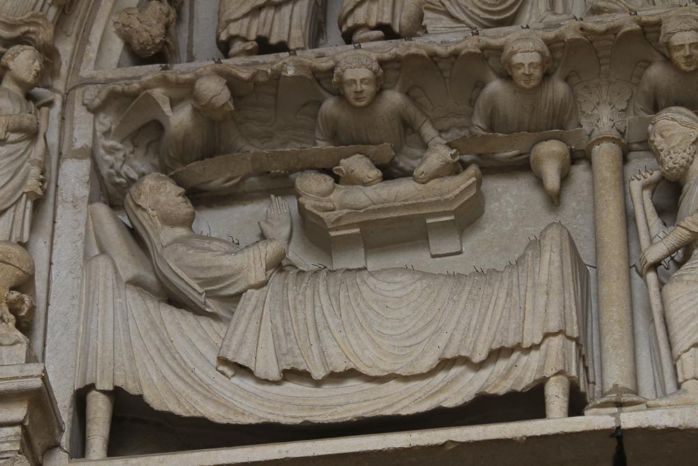 Chartres, north side, left portal, detailLINTEL:• Left: Nativity